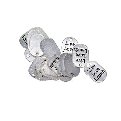 20x Engraving Live Love Laugh Tag Pendant Charms for Clothing Bag Decoration