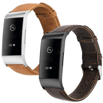 Genuine Leather Watch Band for Fitbit Charge 3/ 3HR Cowhide Retro Strap Bracelet