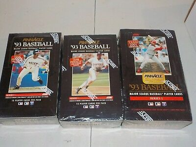1993 Pinnacle Baseball Series 1 Factory Sealed Wax Box Lot of 3 Boxes w/ Jumbo