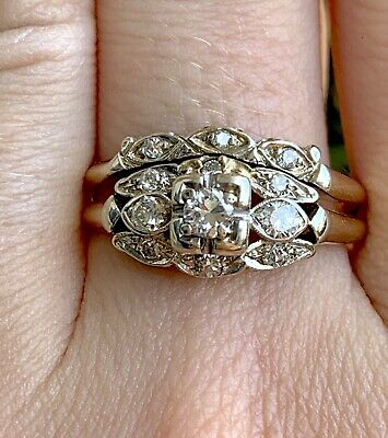 Vintage Art Deco 14k Gold And Platinum Double Band Ring With .50ctw Diamonds