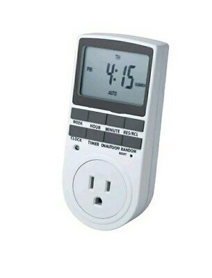 Smart Digital Light Timer With 3 Prong Outlet 7 Day Programmable Plug In Elec