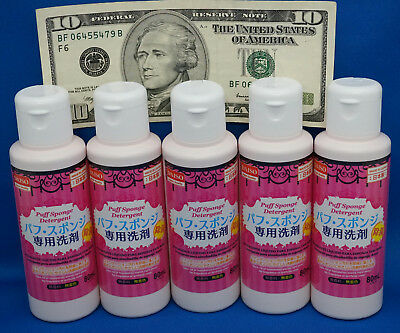 Daiso Detergent Cleaning for Markup Puff and Sponge 80ml 5 pcs Made In Japan/Wit