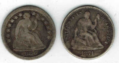 Lot of Two (2) Liberty Seated Silver Half Dimes:  1856-O AND 1871-P