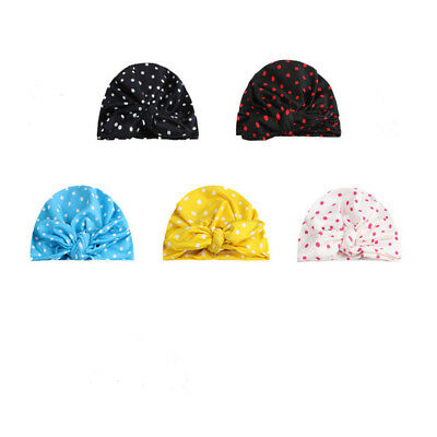 Bowknot Dot print Beanie Dots Bow Cap for Kid Baby Butterfly Turban Bonnet S