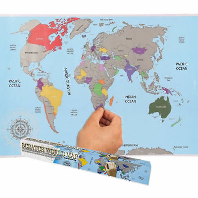 Scratch Off World Map Personalised Travel Holiday Wall Paper Poster Decor Gift