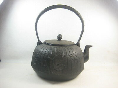 Antique Japanese Showa Era Cast Iron Tea  Pot Tetsubin Maple Leaves