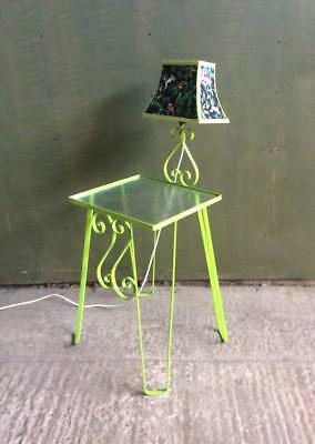 Mid century 1950's wrought Iron bedside table lamp table