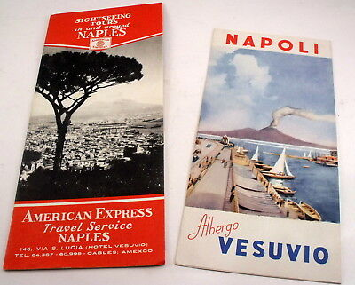Naples Napoli Italy 1940 Travel Brochures The Vesuvius Hotel Am. Express Service