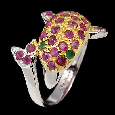 Deluxe Round 2mm Top Red Pink Ruby Emerald 925 Sterling Silver Dolphin Ring Sz 8