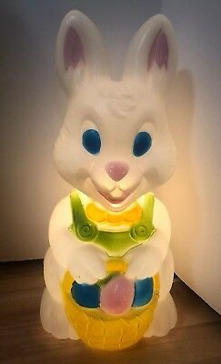 "Easter Bunny Rabbit Blow Mold 19"" Like Peter Rabbit Basket Eggs Vintage Spring"