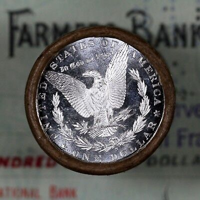 (ONE) $20 Silver Dollar Roll S-Mint DMPL and S-Mint Morgan Dollar Ends
