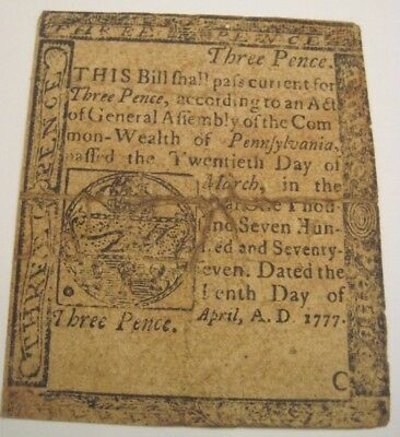 1777 Three Pence Philadelphia Pennsylvania Used In Early U.S. Colonial Currency
