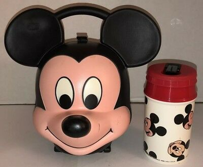 Vintage 80s MICKEY MOUSE Head Aladdin Lunchbox w/ Thermos Hard Plastic DISNEY