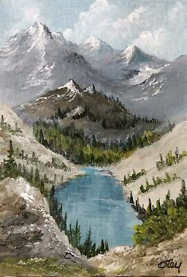 Aceo, acrylic,original, landscape,mountain, Rocky Mountain View by Donna Otey