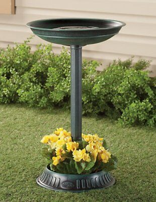 "25"" Birdbath with Planter Pedestal - Green 351183"