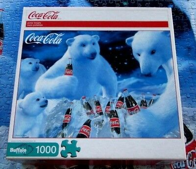"Coca Cola Polar Bears Jigsaw Puzzle 1000 Pieces 26.75"" X 19.75"" Buffalo Euc"