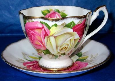 Queen Anne Gorgeous LADY SYLVIA Large Roses Vintage Fine Bone China Cup & Saucer