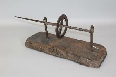Extremely Rare 17Th C Pilgrim Wrought Iron Rotating Skewer Or Spit On Oak Base