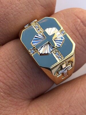 Mens 14k Gold Over Real Solid 925 Silver Cross Ring Size Pinky 7 8 9 10 11 12 13
