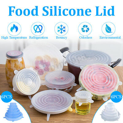 12Pcs Silicone Food Fresh Lid Multi Function Stretchable Food Keeping Case Cover