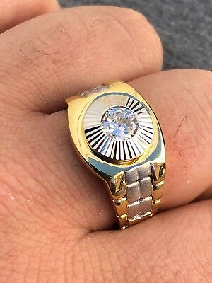 Mens 14k Gold Over Real Solid 925 Silver Solitaire Presidential Watch Band Ring