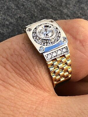 Men 14k Gold & Real Solid 925 Silver Presidential Watch Band Ring ICED OUT Pinky