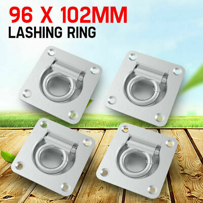 4x Lashing Rings Tie Down Anchor Point Zinc Plated Recessed Trailer 96 x 102mm