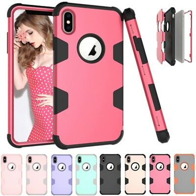 For iPhone Xs Max 6 7 8 Plus Shockproof Heavy Duty Armor Hybrid Hard Case Cover