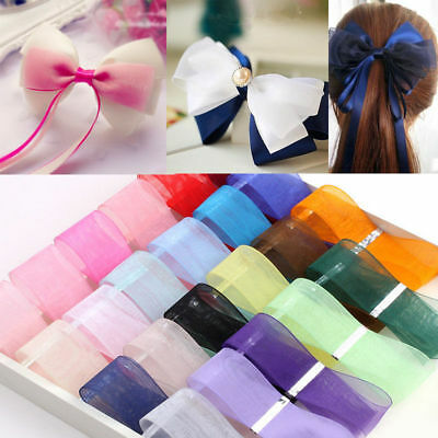 "5yds 1"" 25mm Satin Edge Organza Ribbon Bow Wedding Decoration Lace Crafts Hot"