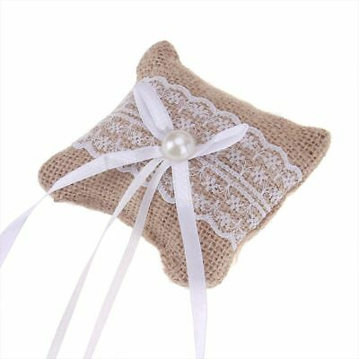 Elegant Lace Bow Ring Pillow Wedding Vintage Burlap Jute Cushion Party Supplies