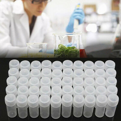 20* 5ml Plastic Sample Mini Small Vial Bottle Test Tube Lab Storage Containers