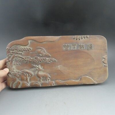 China, wood, collectibles, manual, woodcarving,Pine & deer, inkstone  B11658