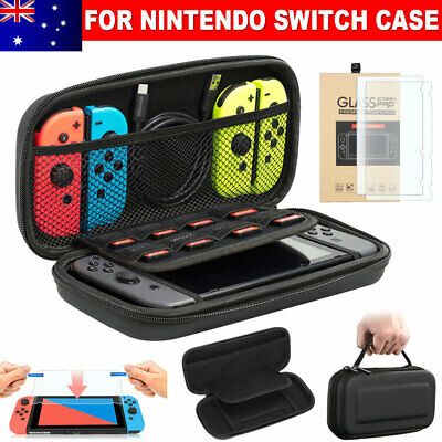 Nintendo Switch Hard Case Protective Cover Carry Bag Console with 2X Glass Film