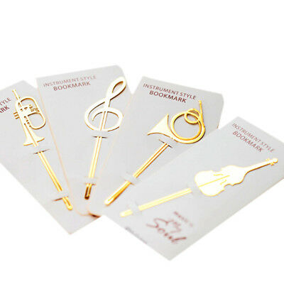 Cute Gold Musical Instruments Metal Book Markers Bookmark Paper Clip Stationery