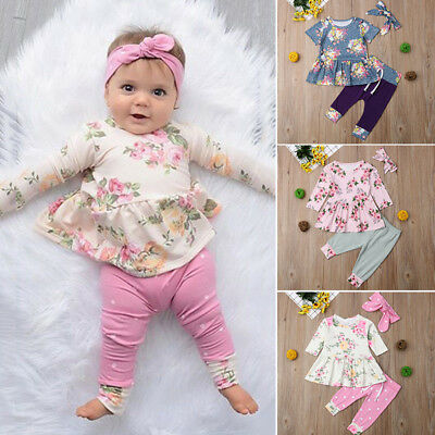 Newborn Toddler Kids Baby Girl Flower Dress Tops Long Pants 3PCS Outfits Clothes