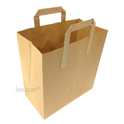 100 MEDIUM BROWN KRAFT PAPER SOS CARRIER BAGS FLAT HANDLE 21cm x 25cm x 10cm
