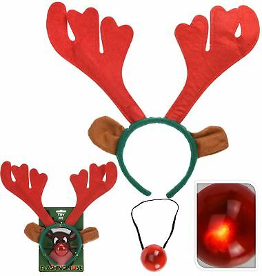 Rudolph Reindeer Antlers Headband With Flashing Nose Festive Party Christmas Set