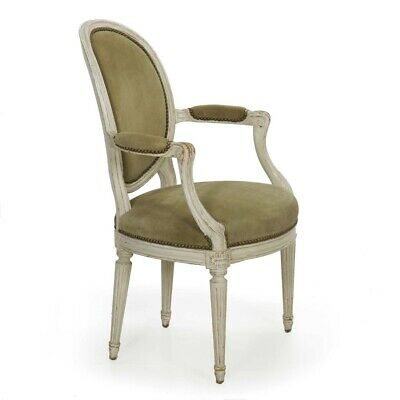 French Louis XVI Style Distressed White Paint & Suede Leather Vintage Arm Chair