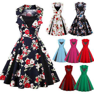 Womens 50s 60s Retro Rockabilly Pinup Swing Dress Floral Evening Party Plus Size