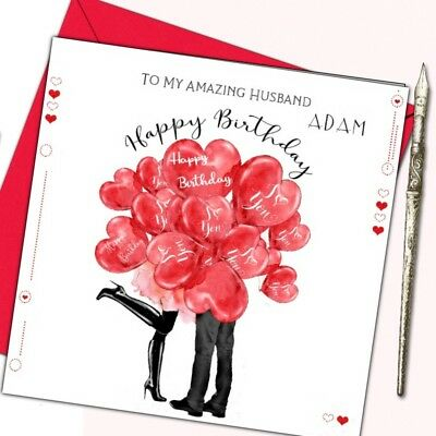 Personalised Romantic Birthday Card Husband Wife Boyfriend Girlfriend Fiancee