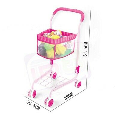 Simulation Shopping Cart With Fruit And Vegetable Model Dolls Trolley Toys