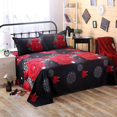 2-4pcs 3D Rose Cotton Queen King Duvet Quilt Cover Sheet Pillowcase Bedding Set