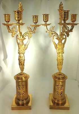 """Antique """"ISIS"""" Egyptian Revival French Empire Bronze Dore Three-Arm Candelabras"""