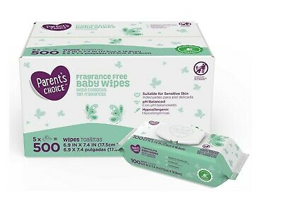 Parent's Choice Fragrance Free Baby Wipes, 500 ct - 5 Packs of 100
