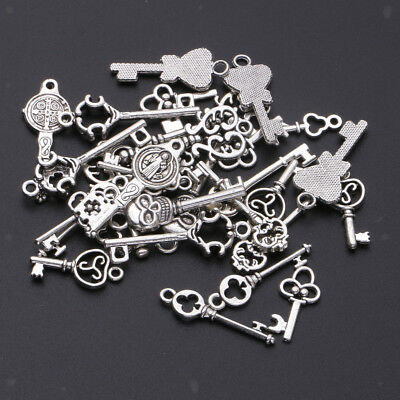 30 Pcs Mixed Antique Silver Vintage Skeleton Key Charms DIY Necklace Jewelry