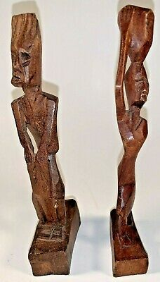 Vintage Pair Hand Carved Wood African Tribal Art Statue figure Woman Man Basket