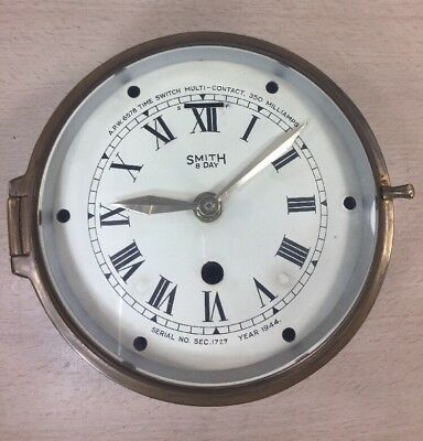 SMITH 8 Day Ship Clock Brass Nautical For Parts & Pieces 1944 A.P.W. 6578 FPNW