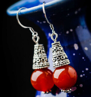 TwoPin Luxury Handmade party 10mm Red agate Tibet silver gules Earrings Reiki
