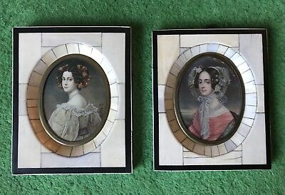 A Pair Of Antique Early 19th Century Miniature Portraits Of Two Ladies
