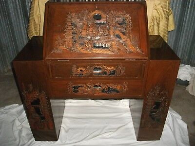 NORTHALLERTON / Beautiful carved Japanese Camphor wood Beuro / writing desk